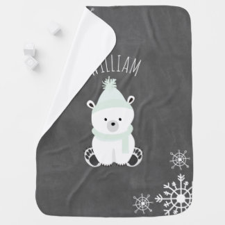 Personalize Polar Bear Baby Blanket - Green