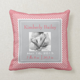 Personalize Polka Dots Nursery Birth Announcement Throw Pillow