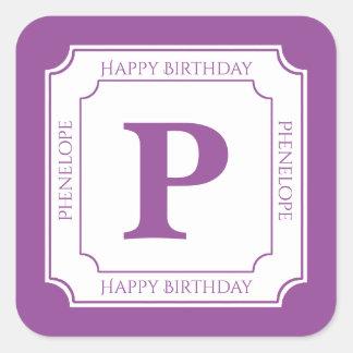 Personalize: Purple/White Bold Initials Birthday Square Sticker