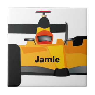 Personalize Race Car Birthday Party Gifts Small Square Tile