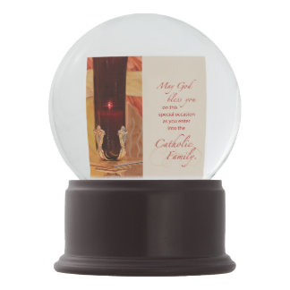 Personalize, RCIA Congratulations, Catholic, Red Snow Globe