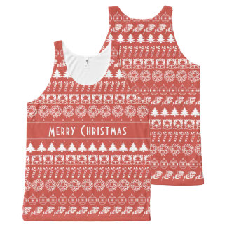 Personalize: Red and White Christmas Stripes All-Over Print Singlet
