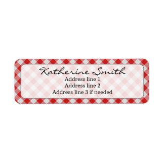 Personalize: Red and White Gingham Check Pattern Return Address Label