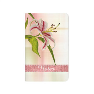 Personalize:  Red and White Star Lily Floral Photo Journal