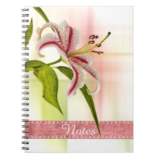 Personalize:  Red and White Star Lily Floral Photo Notebook