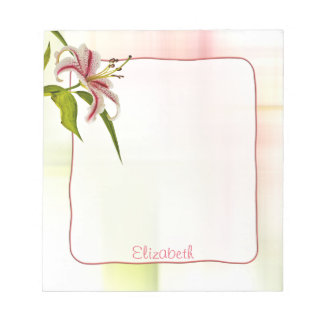 Personalize:  Red and White Star Lily Floral Photo Notepad