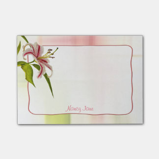 Personalize:  Red and White Star Lily Floral Photo Post-it® Notes
