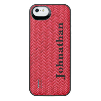 Personalize:  Red Faux Basket Weave Pattern iPhone SE/5/5s Battery Case