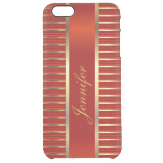 Personalize Red & Gold Metallic Stripes