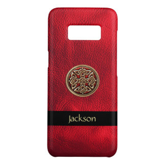 Personalize Red Leather Look Celtic Knot Case-Mate Samsung Galaxy S8 Case