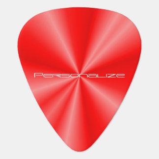 Personalize Red Metallic Print Guitar Pick
