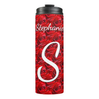 Personalize: Red Rose Pattern - Floral Photography Thermal Tumbler