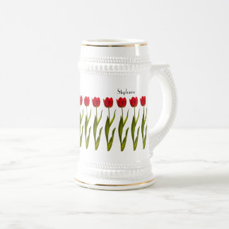 Personalize:  Red Tulip Floral Photography Beer Stein