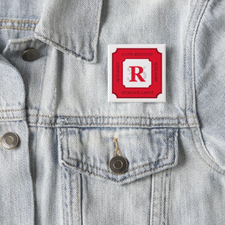 Personalize: Red/White Bold Initial and Age 15 Cm Square Badge