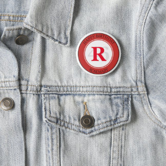 Personalize: Red/White Bold Initial and Age 6 Cm Round Badge