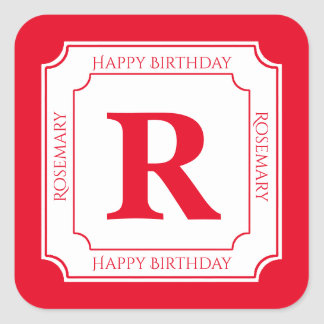 Personalize: Red/White Bold Initials Birthday Square Sticker