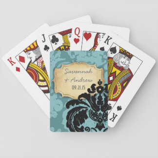 Personalize Romantic Vintage Damask Gold Plate Playing Cards