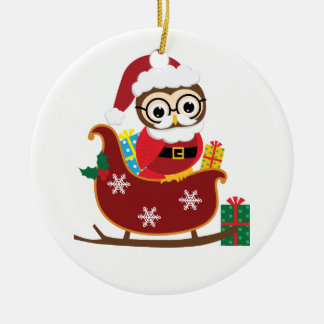 Personalize Santa Owl Christmas Ornament