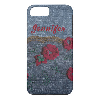 Personalize Shabby Chic Denim Rose Phone Case