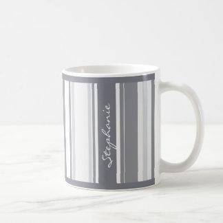 Personalize:  Shades of Gray Stripes Pattern Coffee Mug