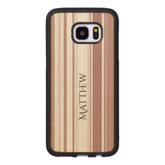 Personalize Shades of Marsala Striped Pattern Wood Samsung Galaxy S7 Edge Case