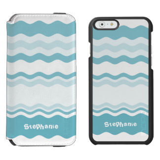 Personalize:  Shades of Turquoise Waves Pattern Incipio Watson™ iPhone 6 Wallet Case
