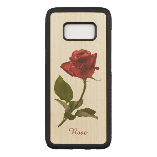 Personalize: Single Red Rose Floral Photography Carved Samsung Galaxy S8 Case