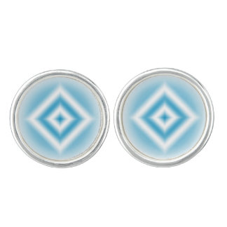 Personalize-sky blue diamond gradient cuff links