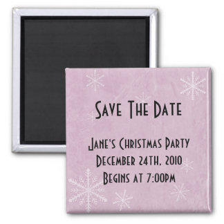 PERSONALIZE Snowflake Paper 3 - Pink Square Magnet