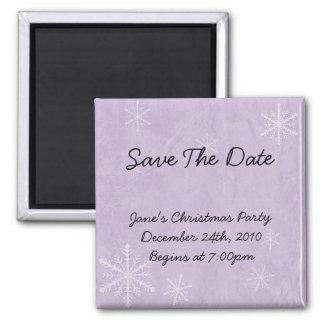 PERSONALIZE Snowflake Paper 3 - Purple Square Magnet