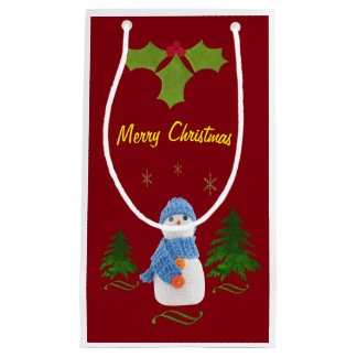 Personalize, Snowman, Christmas tree, twig Small Gift Bag