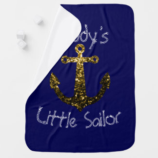 Personalize Sparkly Anchor Daddy's Little Sailor Baby Blanket
