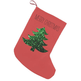 Personalize Sparkly Christmas tree green Red Small Christmas Stocking