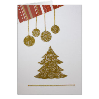 Personalize Sparkly Christmas tree, ornaments Card