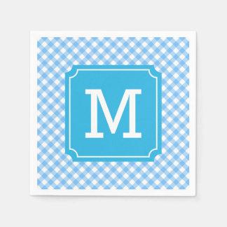 Personalize Stylish Baby Blue Gingham Monogram Paper Serviettes