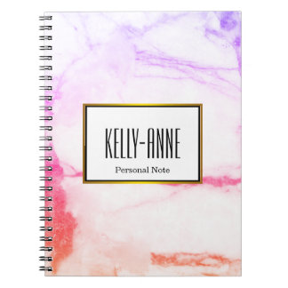 Personalize Stylish Marble Texture Designer Notebook