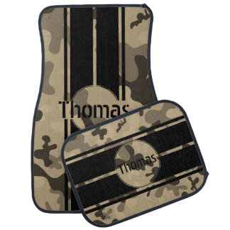 Personalize Tan Brown Camo Black Racing Stripes Floor Mat