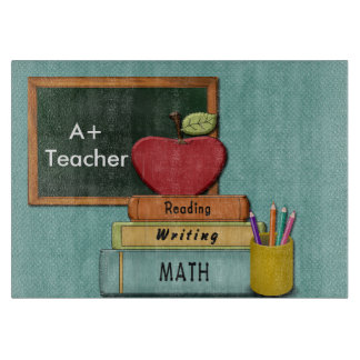 Personalize Teachers', Apple, Books and Pencils Cutting Board