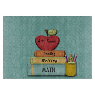 Personalize Teachers', Apple, Books and Pencils Cutting Boards
