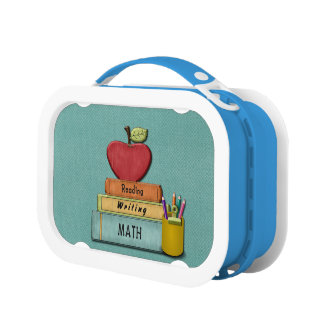 Personalize Teachers', Apple, Books and Pencils Lunchbox