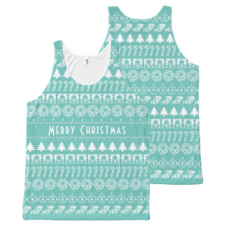 Personalize: Teal and White Christmas Stripes All-Over Print Singlet