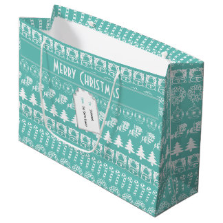 Personalize: Teal and White Christmas Stripes Large Gift Bag