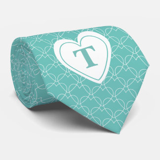 Personalize: Teal Initial Minimal Hearts Pattern Tie