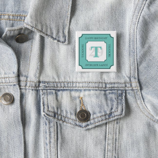 Personalize: Teal/White Bold Initial and Age 15 Cm Square Badge