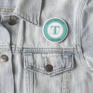 Personalize: Teal/White Bold Initial and Age 6 Cm Round Badge