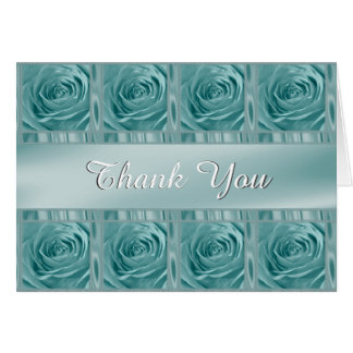 """Personalize """"Thank You"""" Aqua Rose Photo and Satin Card"""