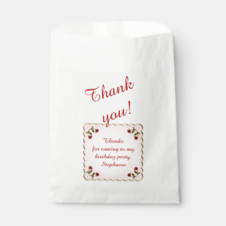 Personalize: Thank You Gift -  Red Roses Pattern Favour Bag