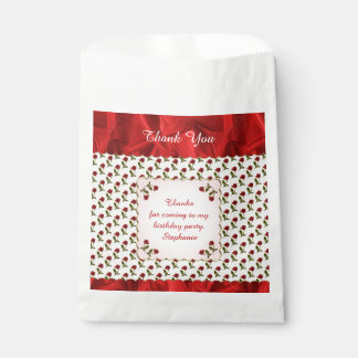 Personalize: Thank You -  Red Roses Pattern Favour Bag