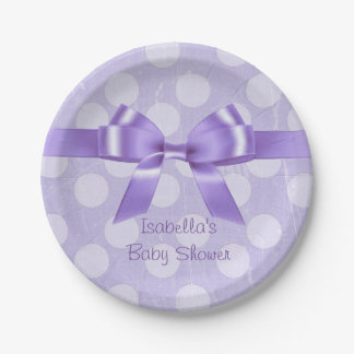 Personalize these Purple and White Polka Dot Plate 7 Inch Paper Plate