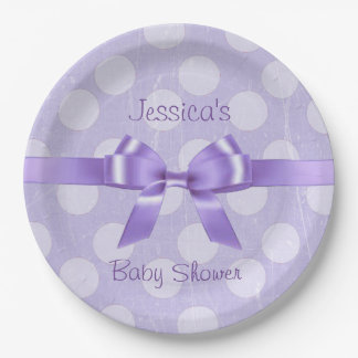Personalize these Purple & White Polka Dot Plates 9 Inch Paper Plate